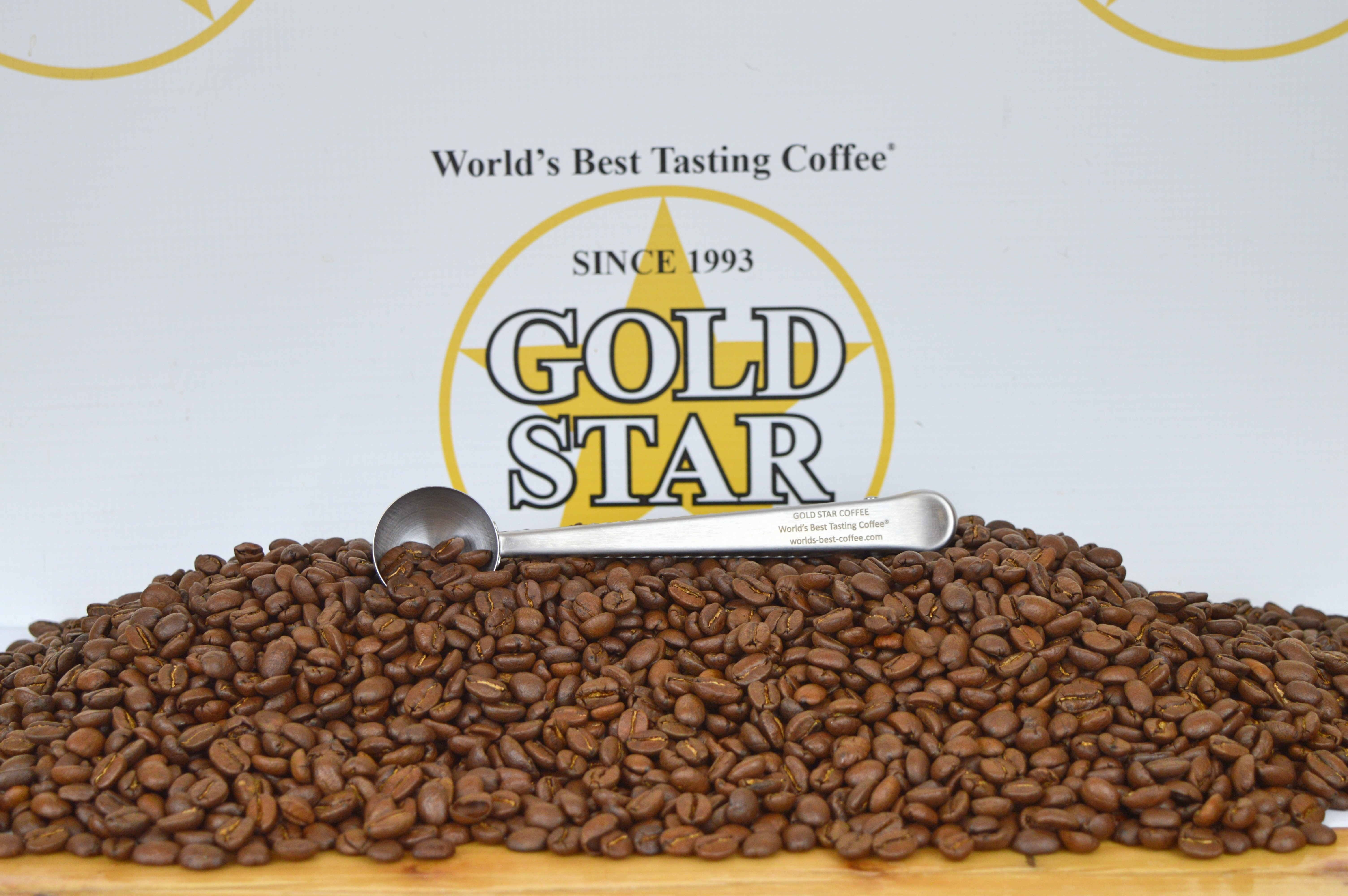 The best coffee in the world. Gold Star Coffee plus our coffee scoop.